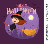 lovely halloween witch... | Shutterstock .eps vector #1174337755