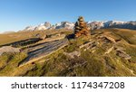 cairn at the top of emparis in... | Shutterstock . vector #1174347208