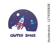 outer space rocket vector   Shutterstock .eps vector #1174350838