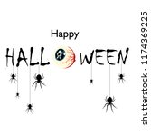 happy halloween text banner.... | Shutterstock .eps vector #1174369225