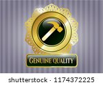 gold badge with hammer icon... | Shutterstock .eps vector #1174372225