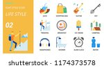 flat style icon pack for life... | Shutterstock .eps vector #1174373578
