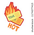 burning tickets for a tourist... | Shutterstock . vector #1174377415