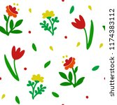 seamless pattern flowers with... | Shutterstock .eps vector #1174383112