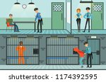 police department set ... | Shutterstock .eps vector #1174392595