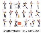 traffic officer in uniform with ... | Shutterstock .eps vector #1174392655