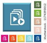 start playlist white icons on... | Shutterstock .eps vector #1174393012