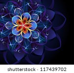 luxurious  abstract blue flower ...