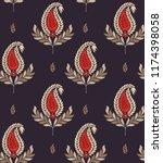 fabric print leaves allover | Shutterstock .eps vector #1174398058