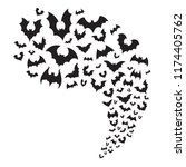 flying bats flock. creepy... | Shutterstock .eps vector #1174405762