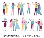 people taking selfie on... | Shutterstock .eps vector #1174405768