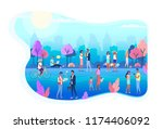 people walking on the city... | Shutterstock .eps vector #1174406092