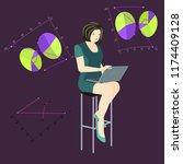 3d office concept. woman... | Shutterstock .eps vector #1174409128