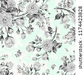 watercolor seamless rose... | Shutterstock . vector #1174423828