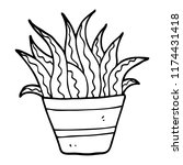 line drawing cartoon house plant | Shutterstock .eps vector #1174431418