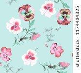 wild pansy watercolor... | Shutterstock . vector #1174434325
