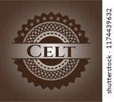 Stock vector celt retro wooden emblem 1174439632
