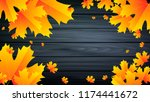 autumn leaves on gray wooden... | Shutterstock .eps vector #1174441672