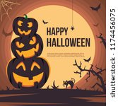happy halloween illustration... | Shutterstock .eps vector #1174456075