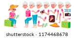 old woman vector. senior person ... | Shutterstock .eps vector #1174468678