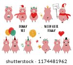 funny set with cute pink pig.... | Shutterstock .eps vector #1174481962