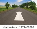arrow sign pointing forward on...   Shutterstock . vector #1174483708