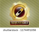 gold shiny badge with bandage... | Shutterstock .eps vector #1174491058