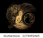 stylish image of lord buddha in ... | Shutterstock .eps vector #1174492465