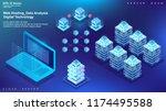 server room  file cloud data... | Shutterstock .eps vector #1174495588
