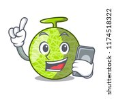 with phone fresh melon isolated ... | Shutterstock .eps vector #1174518322