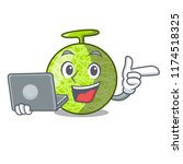 with laptop fresh melon... | Shutterstock .eps vector #1174518325