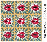retro background seamless lips... | Shutterstock .eps vector #117452728