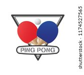 ping pong rackets and ball... | Shutterstock .eps vector #1174527565