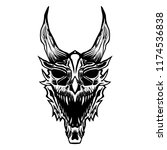 dragon skull angry black and... | Shutterstock .eps vector #1174536838