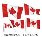 canada vector flags set. 5 wavy ... | Shutterstock .eps vector #117457075