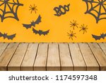 empty wooden table over... | Shutterstock . vector #1174597348