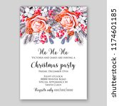 peach rose chrustmas party... | Shutterstock .eps vector #1174601185