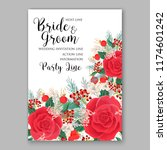 red rose wedding invitation... | Shutterstock .eps vector #1174601242