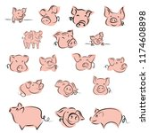 set drawing of cute pig vector...   Shutterstock .eps vector #1174608898