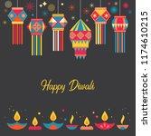 diwali hindu festival greeting... | Shutterstock .eps vector #1174610215