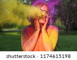 cool blonde girl posing with... | Shutterstock . vector #1174615198