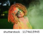 funny caucasian woman wearing... | Shutterstock . vector #1174615945