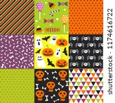 halloween set  patterns | Shutterstock .eps vector #1174616722