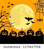 halloween night background with ... | Shutterstock .eps vector #1174617928
