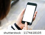 mockup smartphone on female... | Shutterstock . vector #1174618105