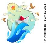 paper ship swimming in sea...   Shutterstock .eps vector #1174621015