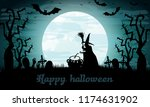 halloween background with witch.... | Shutterstock .eps vector #1174631902