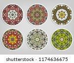 decorative round ornaments set  ... | Shutterstock .eps vector #1174636675