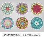 decorative round ornaments set  ... | Shutterstock .eps vector #1174636678
