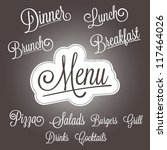 menu headlines  hand lettering...